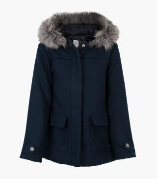 Woollen coat in blue.