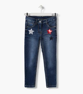 Trousers with sequin star patches.