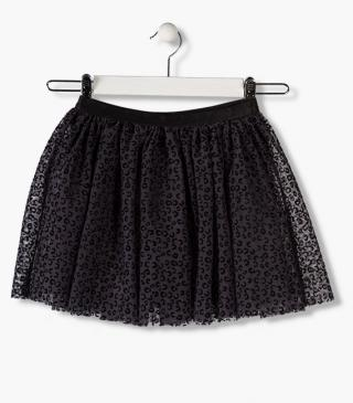Tulle skirt with animal print.