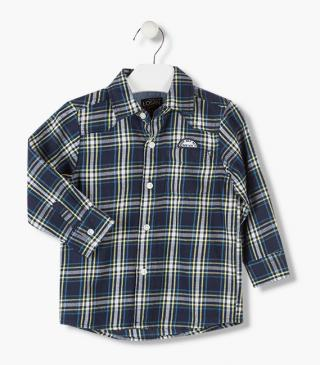 Long sleeve shirt in check pattern.