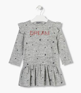 Vestito con stampa all-over di stelle e cuori.