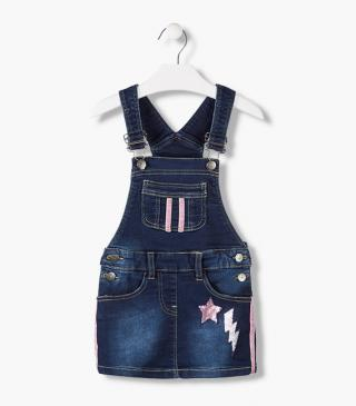 Denim-effect plush dungaree with sequin patches.