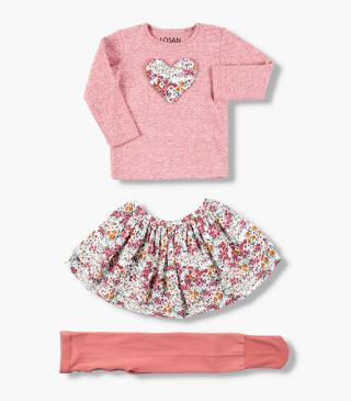 Set featuring t-shirt, floral print skirt and tights.