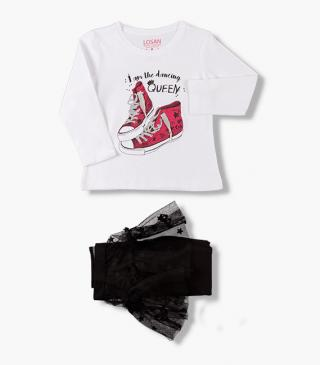 Tulle insert leggings & tee set.