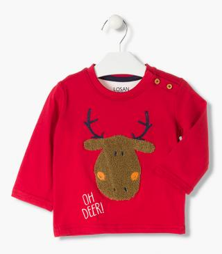T-shirt with embroidery and terrycloth reindeer appliqué.
