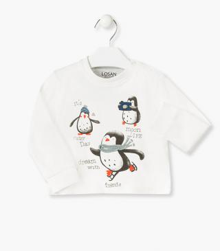 Tee with penguin and scarf appliqué in a fleecy material.