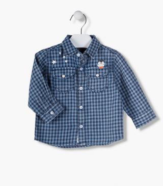 Check shirt made from cotton.