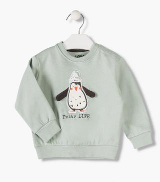 Sweatshirt with 3D penguin appliqué.
