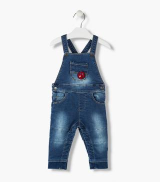 Ribbed cuff dungaree.