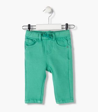 Denim-effect jersey trousers in mint green.