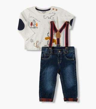 Set featuring print t-shirt & trousers with braces.