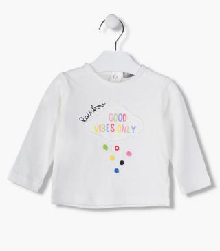 Embroidered dot detailing t-shirt.