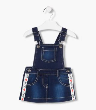 Denim jersey pinafore dress.