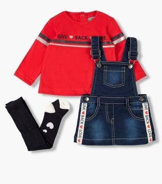 Denim dungaree, top and tights set.