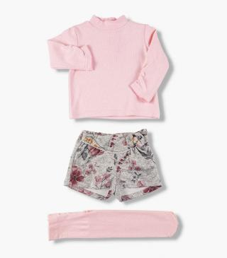 Set including pink top, shorts and tights.