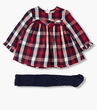 Plaid viyella dress & tights set.