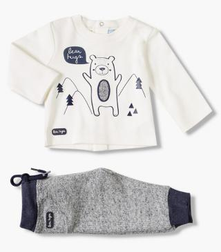 Printed bear top & trousers set.