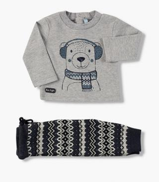 Bear print tee & trousers set.