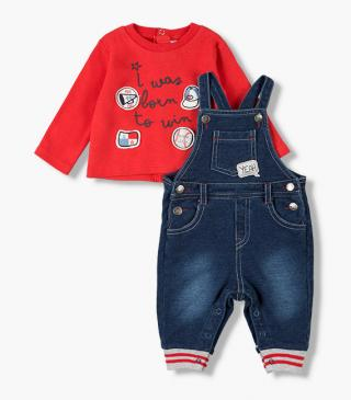 Patch dungaree & tee set.