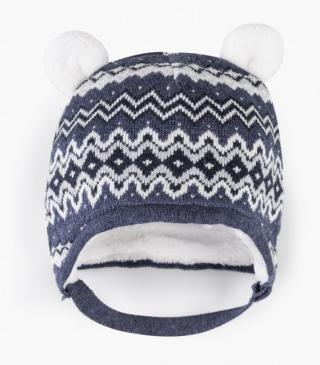 Knit beanie with ear appliqués.