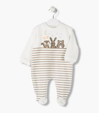 Animal motif front sleepsuit.