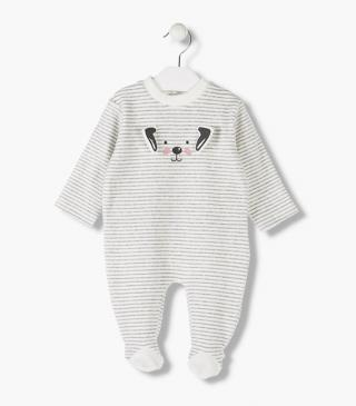 Dog print sleepsuit with ear appliqué.