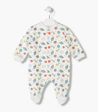 Multicoloured space-themed print sleepsuit.