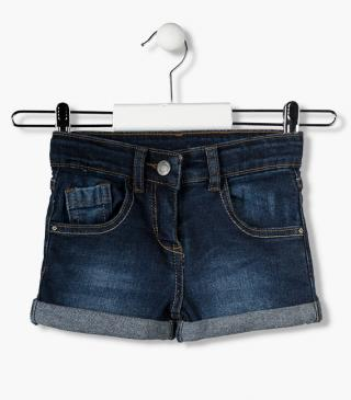 Essential collection denim shorts with roll-up finish for girl